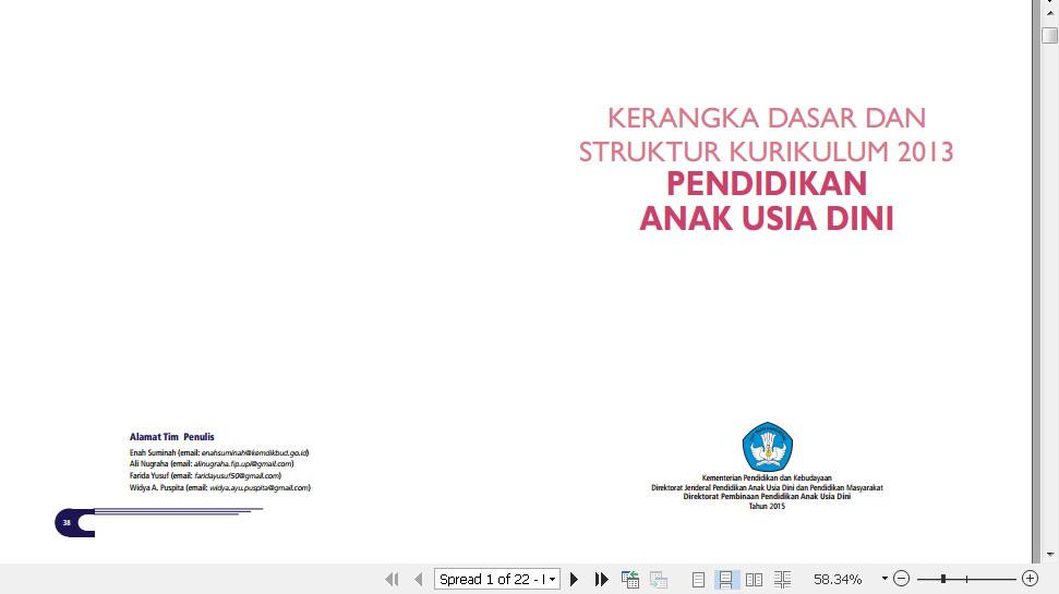 Download Buku Buku Kerangka Dasar dan Kurikulum 2013 Pendidikan Anak Usia Dini (PAUD) Format PDF