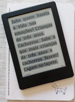 Foto de um Kindle com trecho do livro A Sutil Arte de Ligar o Foda-se