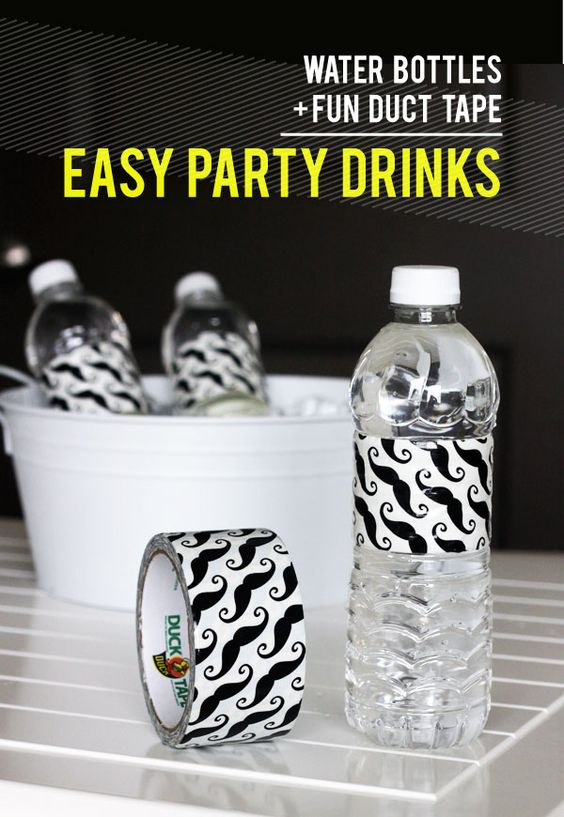 mustache duck tape for water bottles