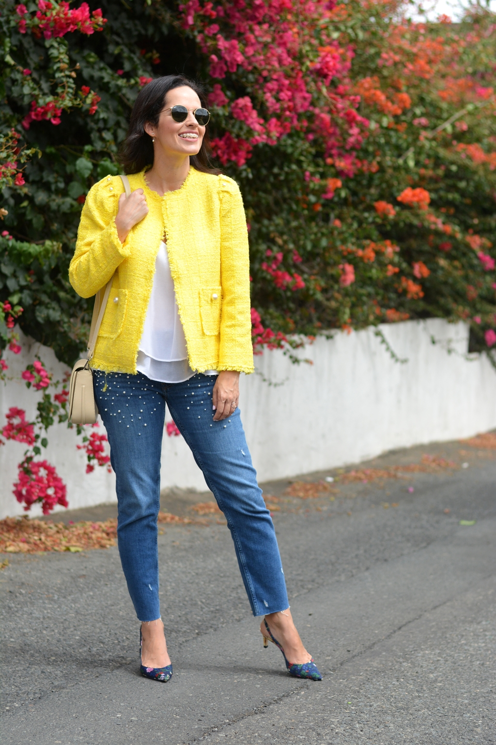zara-yellow-tweed-jacket-daily-look