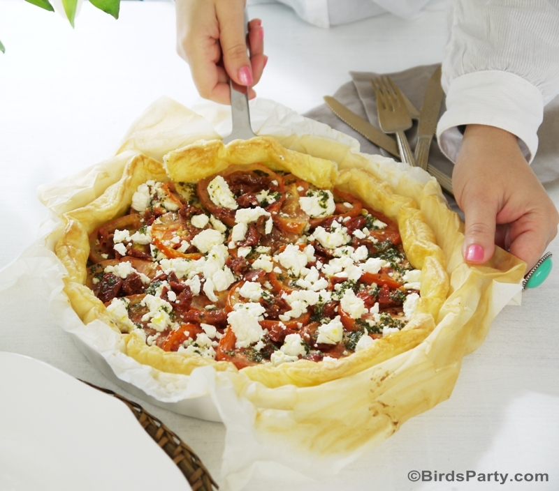 Pesto, Tomato & Feta Brunch Tart Recipe - BirdsParty.com