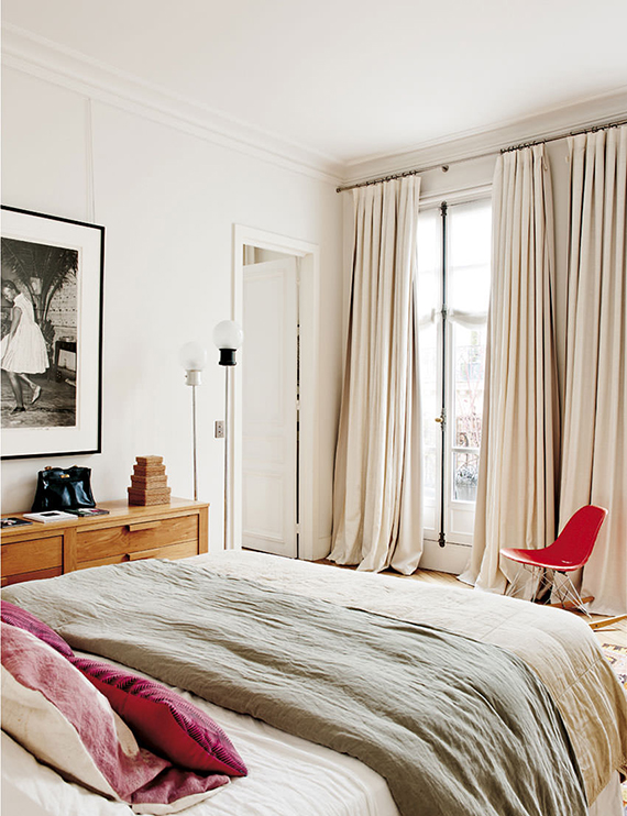 Chic bedroom in Paris. Design by Sandra Benhamou