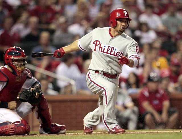 Shane Victorino of the Phillies having just swung the bat