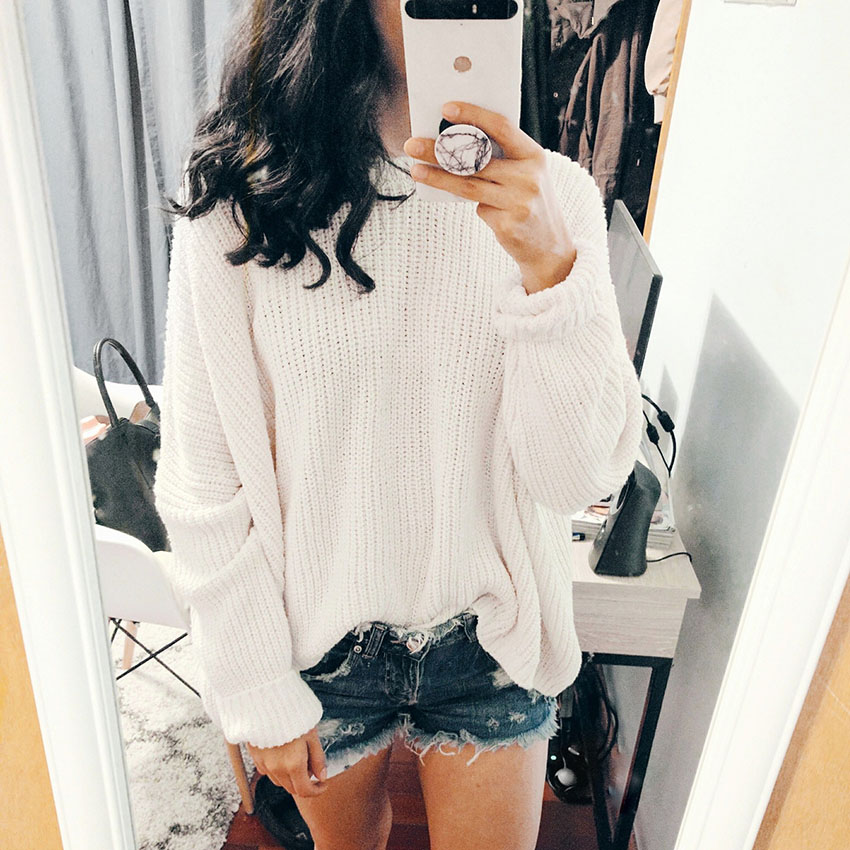 zara knit and zara denim shorts