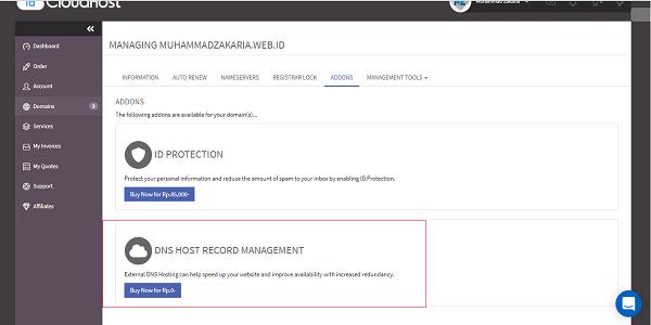 cara mengaktifkan DNS Host Record Management