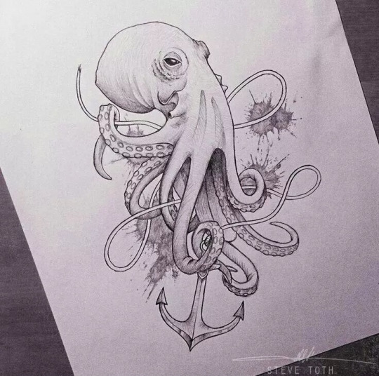 Octopus and Anchor Tattoos