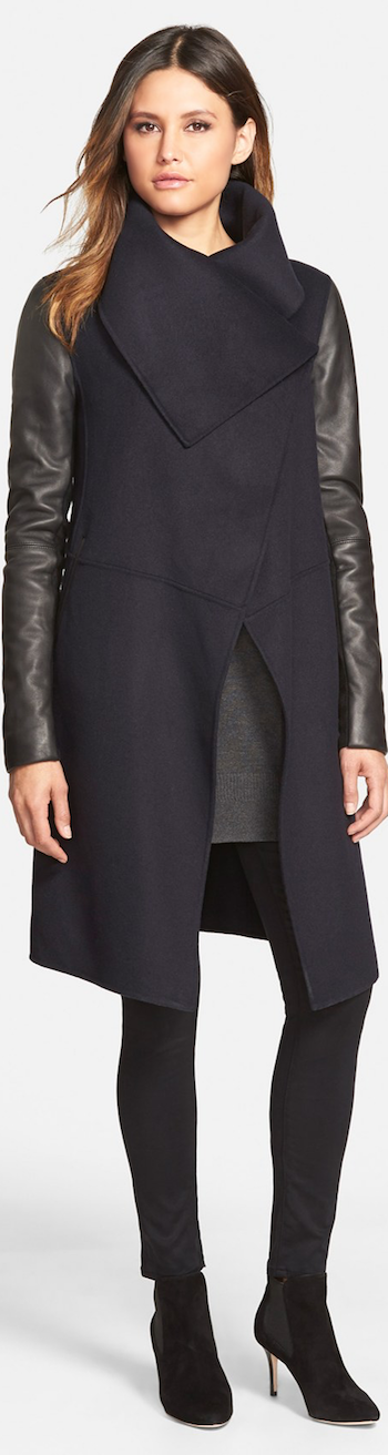 Mackage Wool Blend Coat with Leather Sleeves