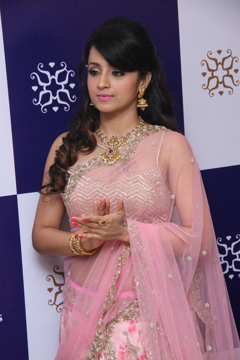 Trisha Hot Photos At Jewellery Shop Opening In Pink Saree