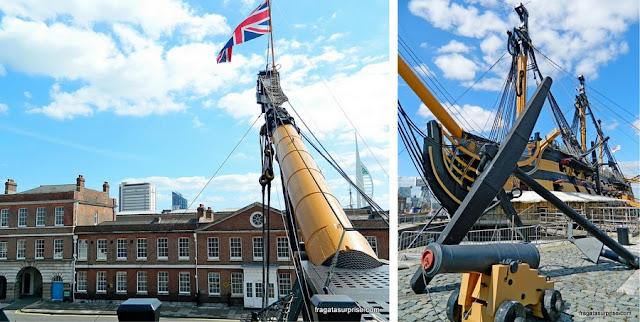 HMS Victory, embarcação do almirante Nelson, e o Museu Naval de Portsmouth
