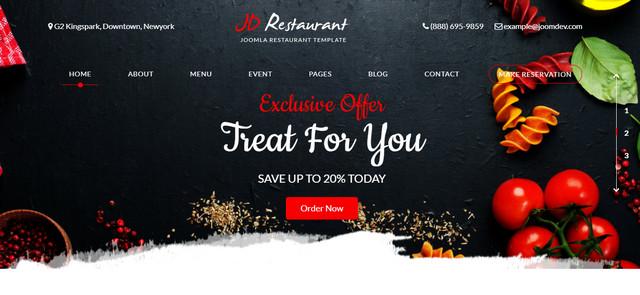 JD Restaurant Responsive Joomla Templates