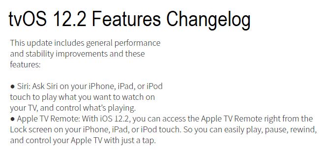 Apple tvOS 12.2 Final Features Changelog