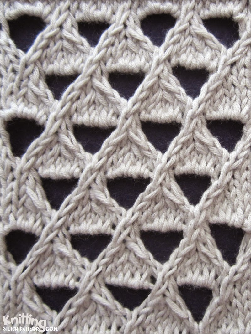 The Grand Eyelet Lattice stitch is an 8 row repeat and is knitted in a multiple of 8 stitches.