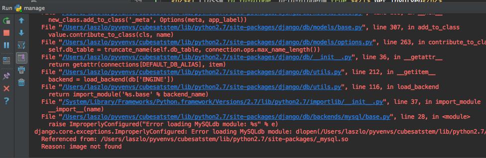 Debug django and MySQL project with PyCharm community on Mac