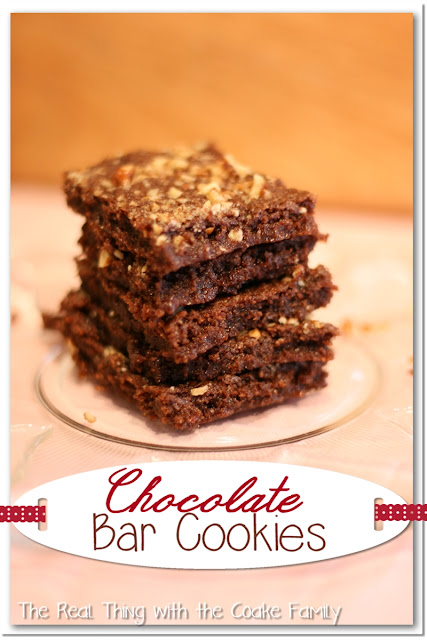 Chocolate bar cookies in a stack on a plate