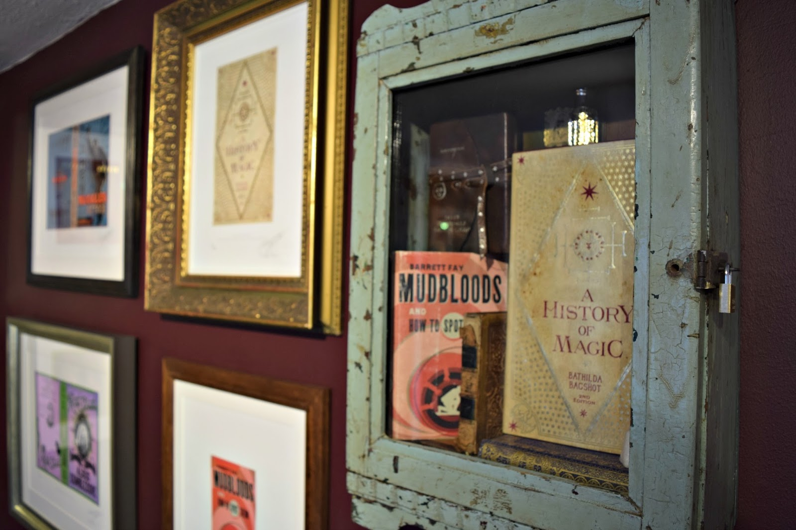 old textbooks from Hogwarts at the House of Minalima