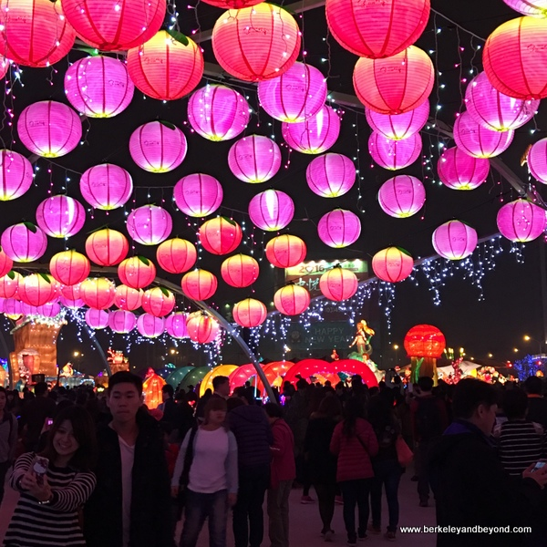 under the lantern corridor at Taiwan Lantern Festival 2016--night