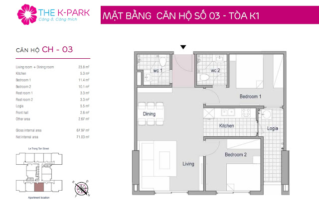 Thiết kế căn hộ 03 - Dt 67m2 - 02 phòng ngủ