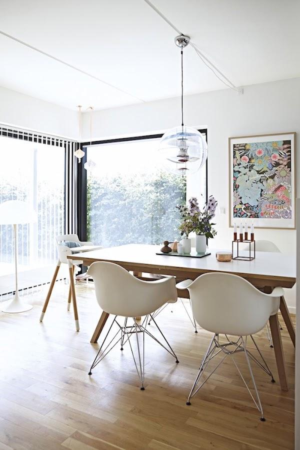 comedor madera y sillas Eames