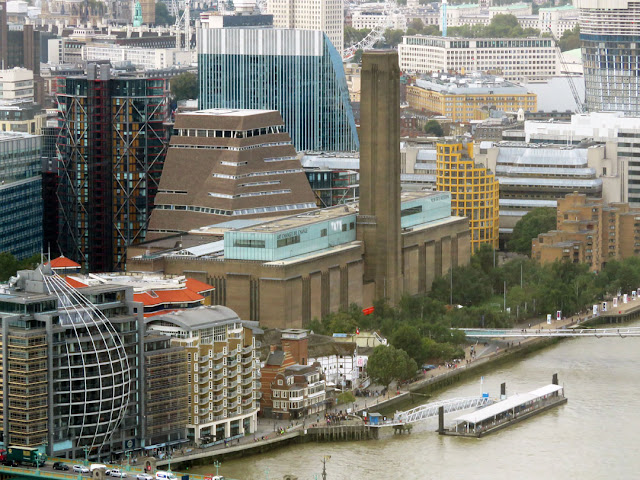 The Tate Modern and the new Switch House by Herzog & de Meuron seen from the Sky Garden at the 35th floor of Rafael Viñoly's Walkie Talkie, London