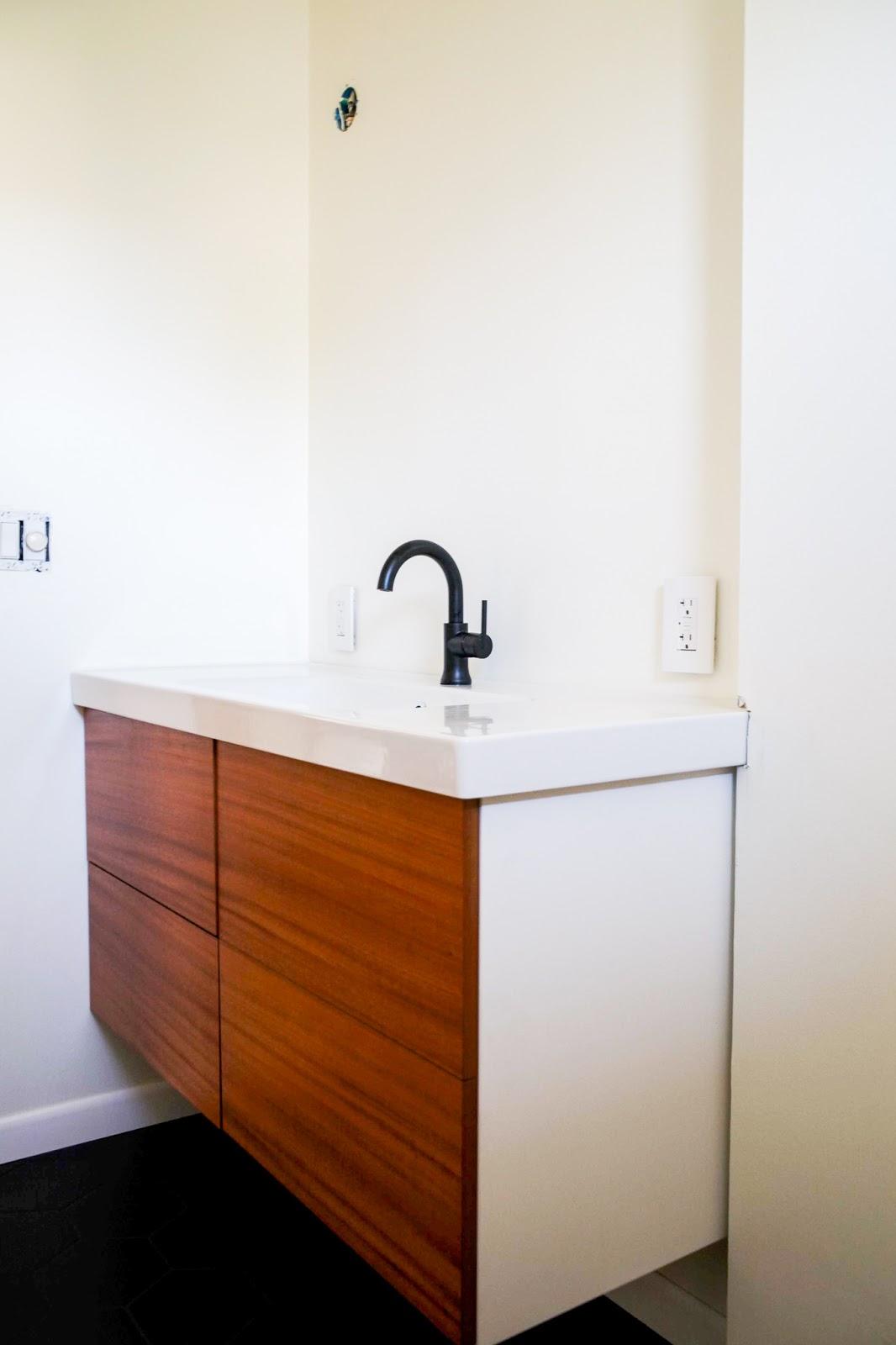 Custom Look Vanity For Less With Semihandmade Doors For Ikea Cabinets Week 5 Of The One Room Challenge Create Enjoy