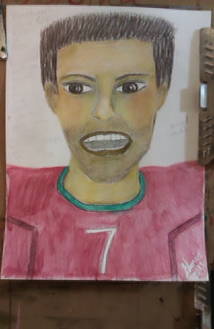 Portugal's World Cup Captain; ethnic sketch by Gloria Poole; Nov, 2013;watercolor