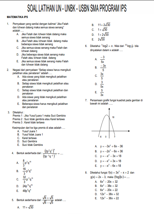 Soal Dan Jawaban Latihan Un Unbk Usbn Matematika Sma Program Ips Pendidikan Kewarganegaraan Pendidikan Kewarganegaraan