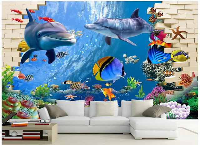Dolphin Wall Mural Fish 3D Brick Wall