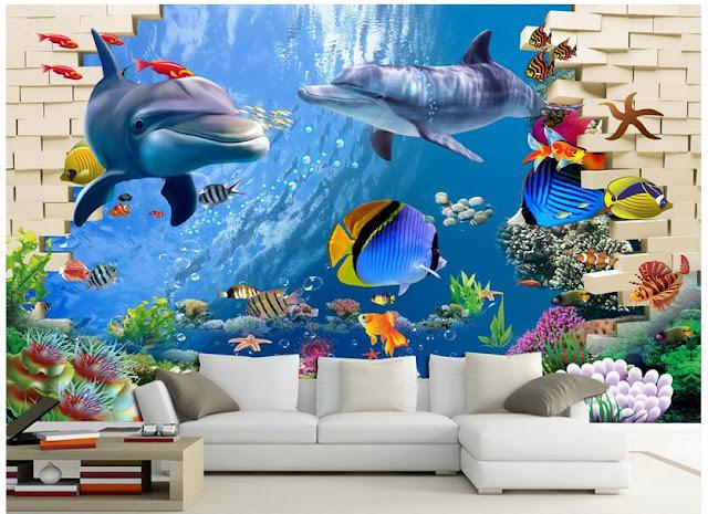 Dolphin Wall Mural Fish 3D Brick Wall