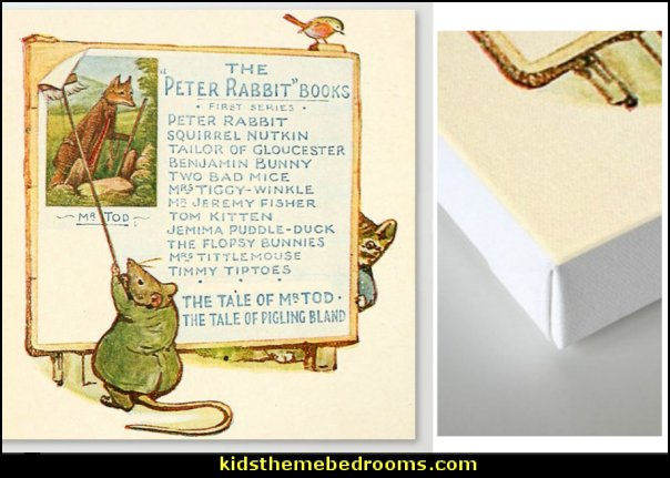 Peter Rabbit Books Billboard Canvas Print   Peter Rabbit Beatrix Potter art   peter rabbit bedroom - decorating peter rabbit theme bedroom - peter rabbit theme room ideas -  Beatrix Potter themed nursery - beatrix potter nursery decor - Beatrix Potter Nursery Murals - peter rabbit nursery decorating ideas - contemporary Beatrix Potter murals - Beatrix Potter wall decals  Peter Rabbit bedding - peter rabbit wall murals - beatrix potter characters plush toys