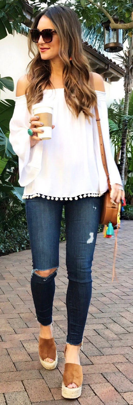 what to wear a white off shoulder blouse : bag + rips + platform sandals