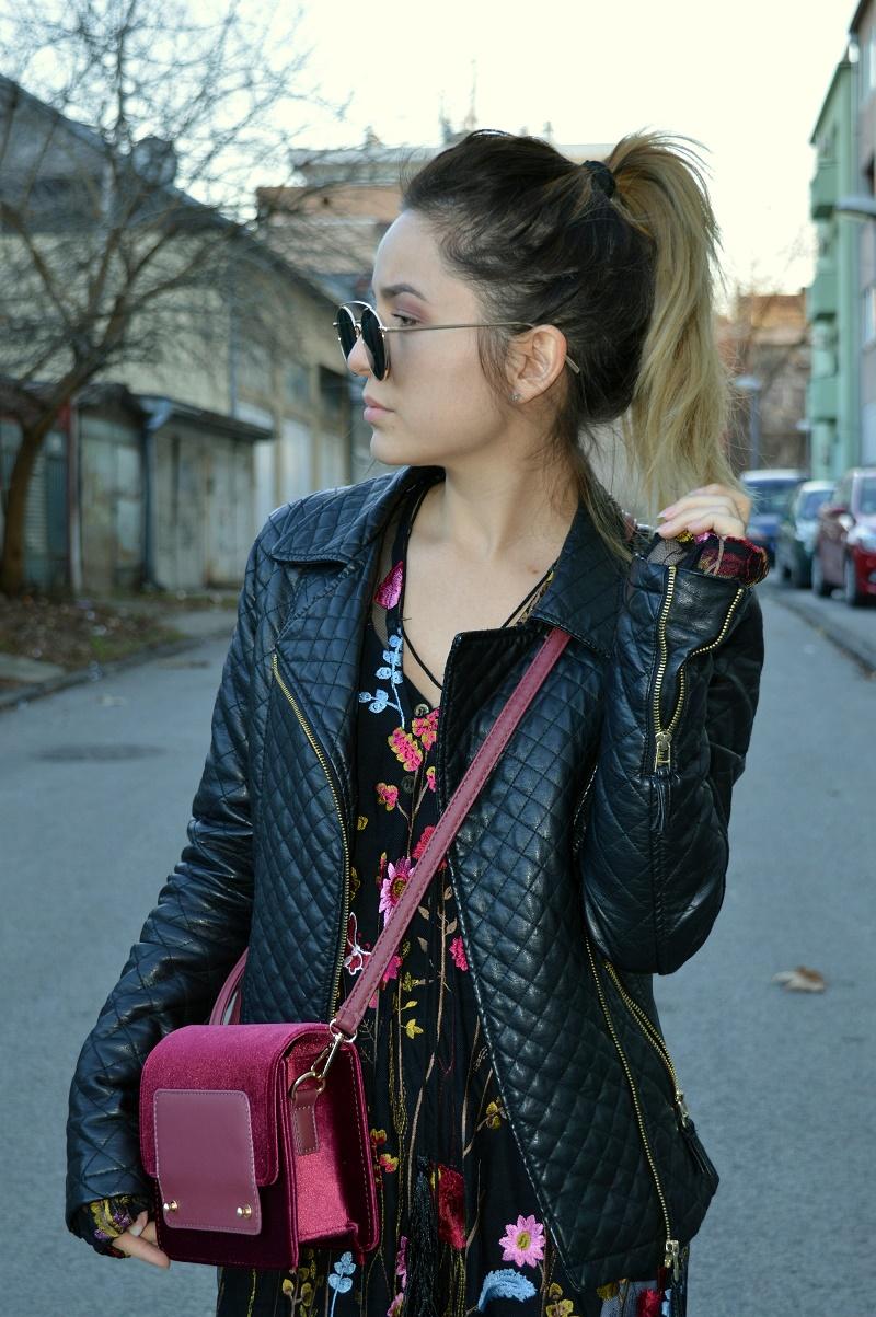 red velvet bag outfit