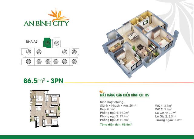 Thiết kế căn hộ 86m, 03 phòng ngủ, An Bình City