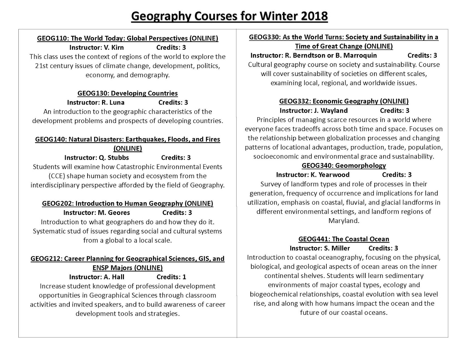 BSOS Undergraduates Blog: Geography Courses for Winter 2018