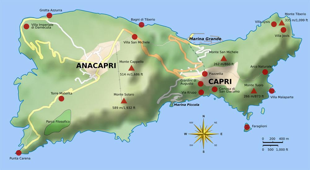 Mapas de Capri   Itália | MapasBlog