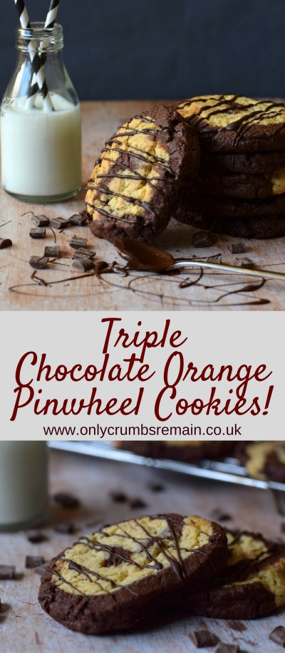 This chocolate cookie recipe is a childhood favourite, though has been pumped up!  It uses the popular flavour combiation of chocolate orange and has added chocolate for a triple chocolate treat!