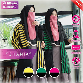 Hijacket Original Ghania Loreng Ungu Kuning Hijau Hijacket HJ-GHN