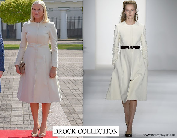 Crown Princess Mette-Marit wore Brock Collection coatdress from Spring 2017 Ready-to-Wear collection
