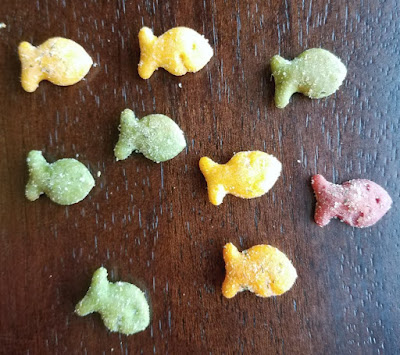 school of cheddar fish crackers swimming across counter