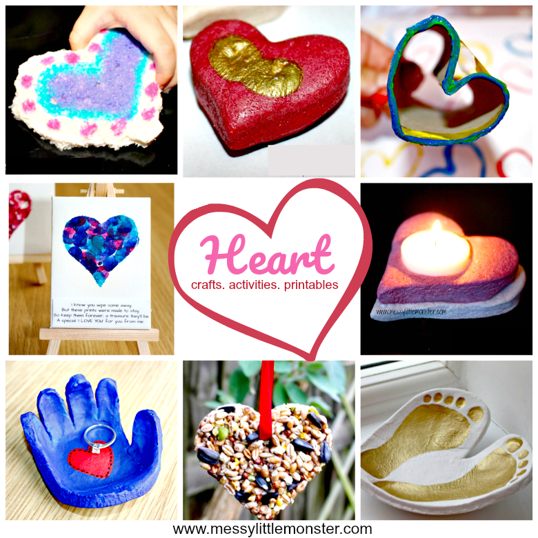 Heart crafts, activities and free printables for kids.  A collection full of heart themed ideas suitable for toddlers, preschoolers and older kids.