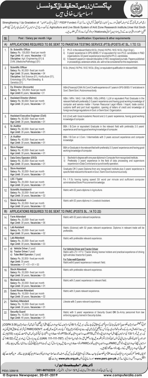 Situations Vacant  at Pakistan Agricultural Research Council