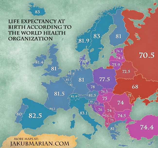 Life expectancy at birth according to the world health organization