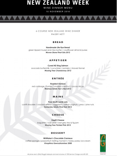 GoBo Upstairs Lounge and Grill New Zealand Week Wine Dinner Menu