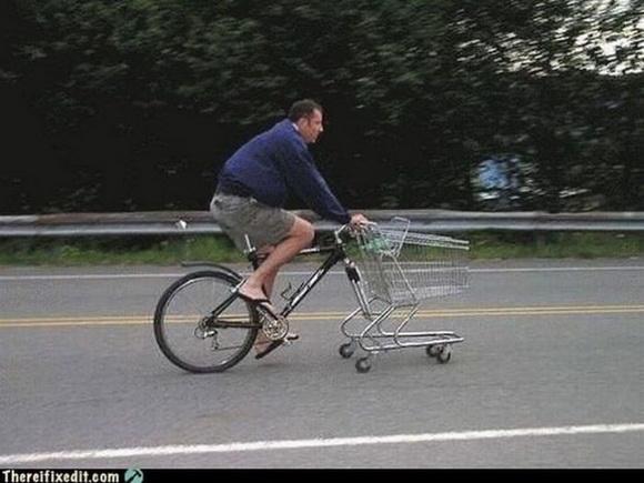 Велосипед и торговая корзина