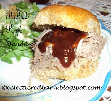 Eclectic Red Barn: BBQ Pork Sandwich with sauce