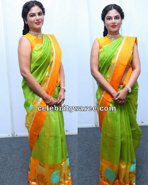 Sailaja Reddy in Light Green Tissue Saree