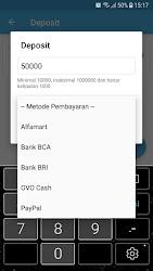Tampilan Aplikasi Halaman Deposit