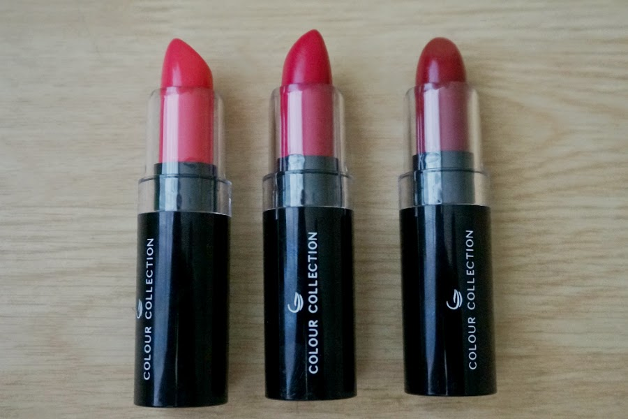 Colour Collection HD Lipstick: Pink Berry, Rasberry Red, Cinnamon Red