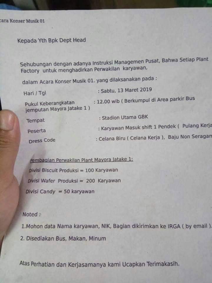 Beredar Surat Karyawan Mayora Diwajibkan Ikut Kampanye 01 di GBK