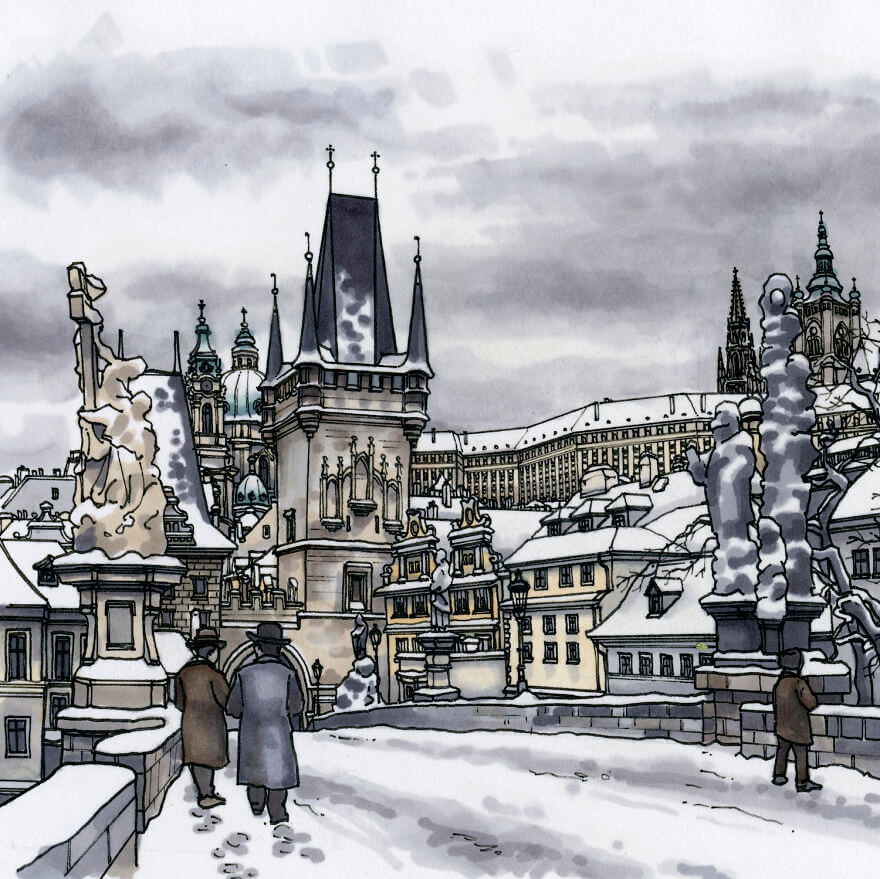 13 Artistic Illustrations Of Famous Places Around The World - Prague, Charles Bridge (Czech Republic)