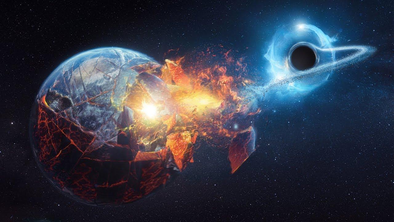 Ilustração de buraco negro sugando a Terra